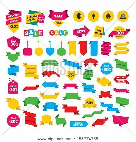 Web stickers, banners and labels. Birthday party icons. Cake with ice cream signs. Air balloon symbol. Special offer tags. Vector