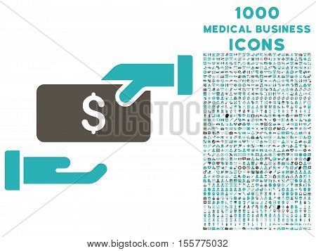 Bribe vector bicolor icon with 1000 medical business icons. Set style is flat pictograms, grey and cyan colors, white background.