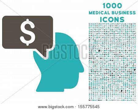 Businessman Idea vector bicolor icon with 1000 medical business icons. Set style is flat pictograms, grey and cyan colors, white background.