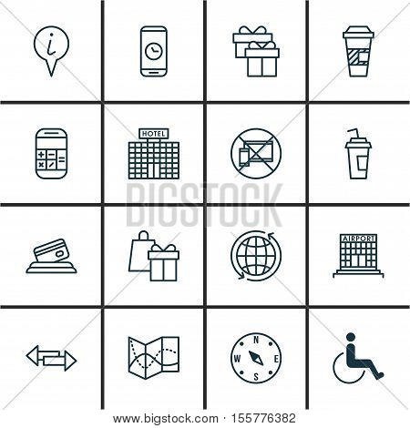 Set Of Travel Icons On Takeaway Coffee, Present And Forbidden Mobile Topics. Editable Vector Illustr