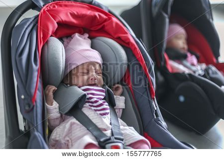 Newborn baby twins girl sitting in a car seat with safety belt buckled up.