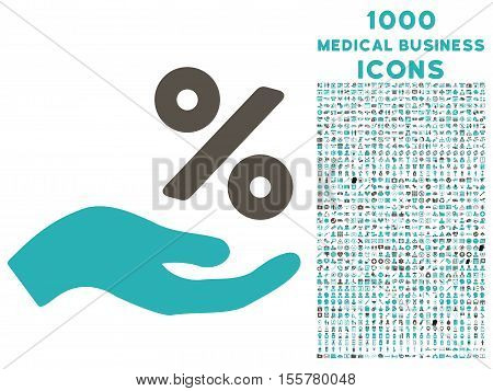 Percent Offer Hand vector bicolor icon with 1000 medical business icons. Set style is flat pictograms, grey and cyan colors, white background.