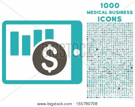 Sales Chart on Pda vector bicolor icon with 1000 medical business icons. Set style is flat pictograms, grey and cyan colors, white background.