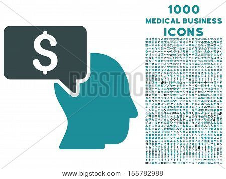 Businessman Idea vector bicolor icon with 1000 medical business icons. Set style is flat pictograms, soft blue colors, white background.
