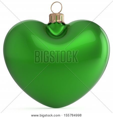 Christmas ball New Years Eve bauble green heart shape adornment decoration blank. Happy Merry Xmas traditional wintertime holiday ornament love romantic greeting card festive design element. 3d render