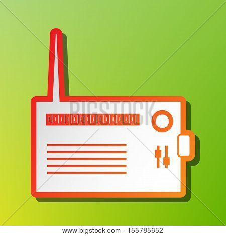 Radio Sign Illustration. Contrast Icon With Reddish Stroke On Green Backgound.