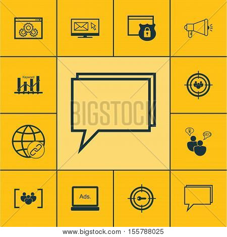 Set Of Advertising Icons On Questionnaire, Conference And Media Campaign Topics. Editable Vector Ill