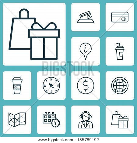Set Of Transportation Icons On Operator, Credit Card And Shopping Topics. Editable Vector Illustrati
