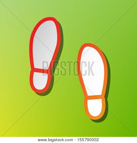 Imprint Soles Shoes Sign. Contrast Icon With Reddish Stroke On Green Backgound.