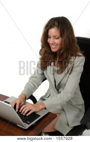 Attractive Business Woman Working On Laptop 2