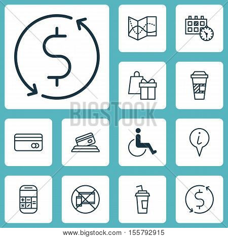 Set Of Transportation Icons On Drink Cup, Road Map And Calculation Topics. Editable Vector Illustrat