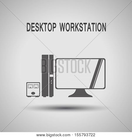 Desktop workstation with uninterruptible power supply gray silhouette vector icon with shadow on the gradient gray background.