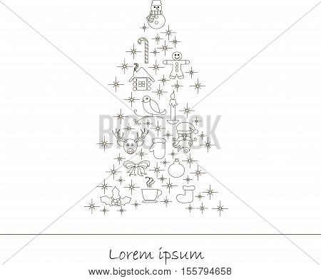 Christmas tree from christmas objects and New year celebration. Unique illustration for t-shirts, banners, congratulation card, flyers and other types of business design, stock vector illustration