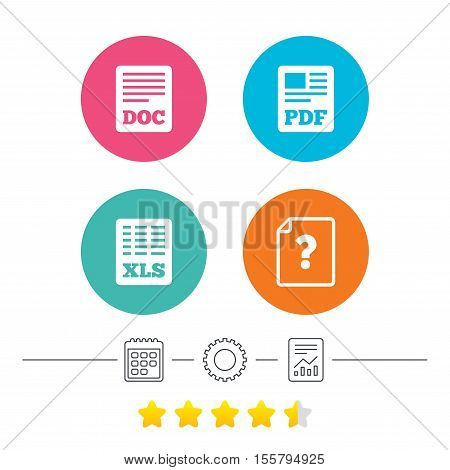 File document and question icons. XLS, PDF and DOC file symbols. Download or save doc signs. Calendar, cogwheel and report linear icons. Star vote ranking. Vector