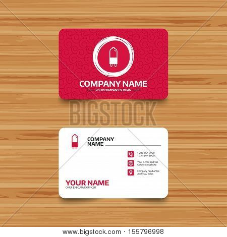 Business card template with texture. Light bulb icon. Lamp G9 socket symbol. Led or halogen light sign. Phone, web and location icons. Visiting card  Vector