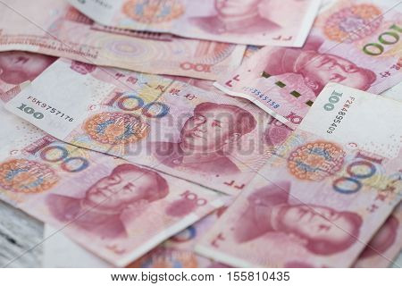 china money 100 bank note background, close up