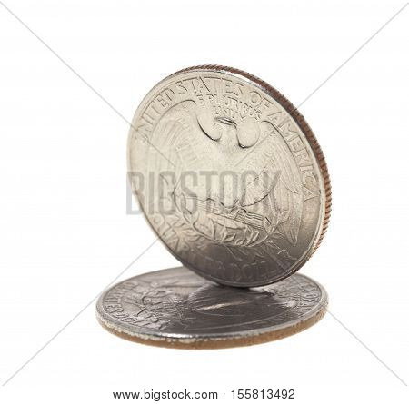 photographed close-up on white background coin dollar American quarter - twenty-five cents