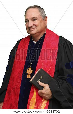 Priest with Red Collar and Bible