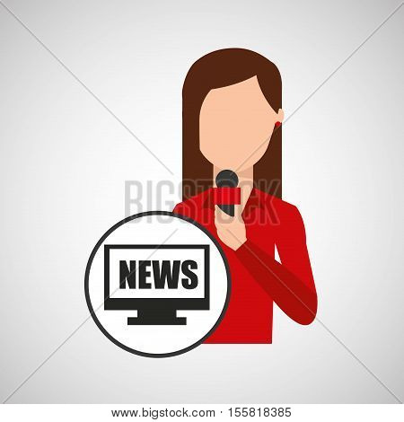 character woman reporter news digital graphic vector illustration eps 10