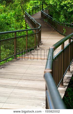 Empty elevated wooden walkway