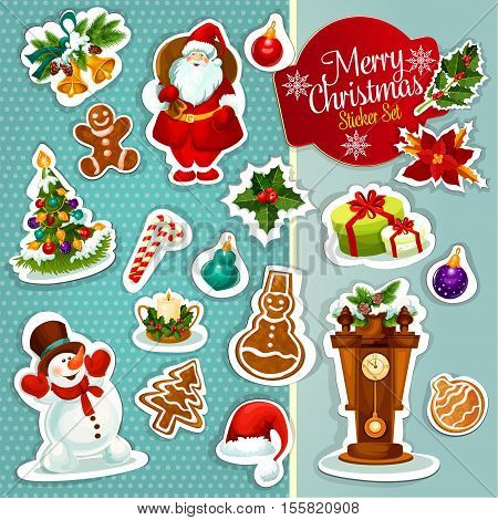 Christmas sticker icon set with gift box, xmas tree, Santa Claus, snowman, candy cane, holly berry, bauble, santas hat, gingerbread cookie, candle, bell with pine, poinsettia flower and clock
