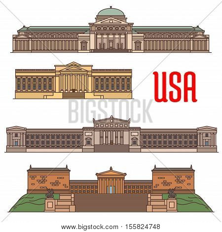 USA sightseeings vector icons of Philadelphia Franklin Institute, Chicago Museum of Science and Industry, Field Museum of Natural History, Museum of Art. Travel attractions and architecture landmarks of America