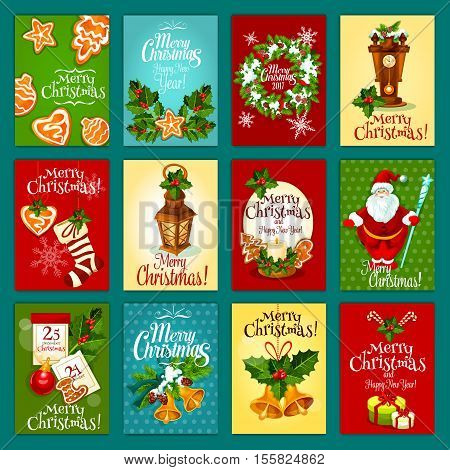 Christmas winter holiday card set with Santa Claus, gift box, holly berry with bell, candle and lantern, xmas stocking sock and bauble, pine tree wreath, gingerbread cookie, calendar and clock