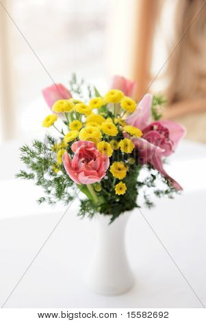 Bouquet Of Orchids, Tulips And Daisies