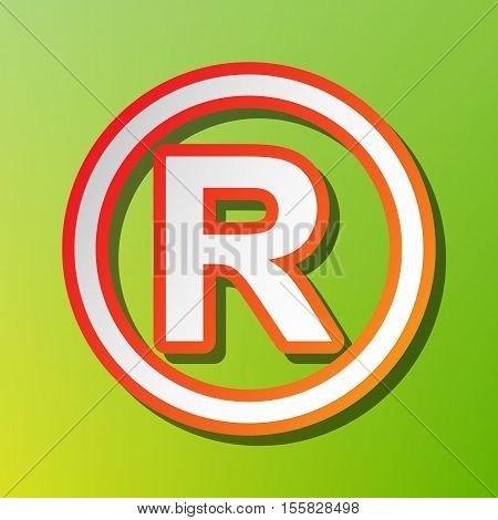 Registered Trademark Sign. Contrast Icon With Reddish Stroke On Green Backgound.