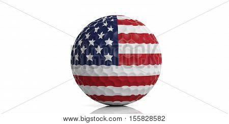3D Rendering Usa Flag Golf Ball