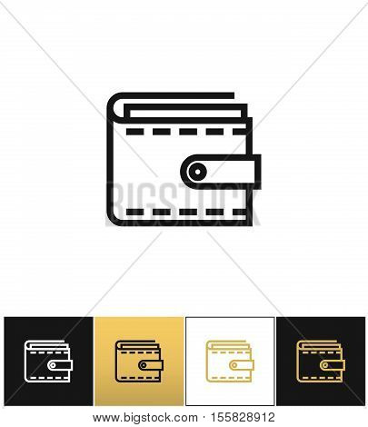 Purse or money wallet linear vector icon. Purse or money wallet linear pictograph on black, white and gold background