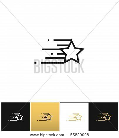 Star line features vector icon. Star line features pictograph on black, white and gold background