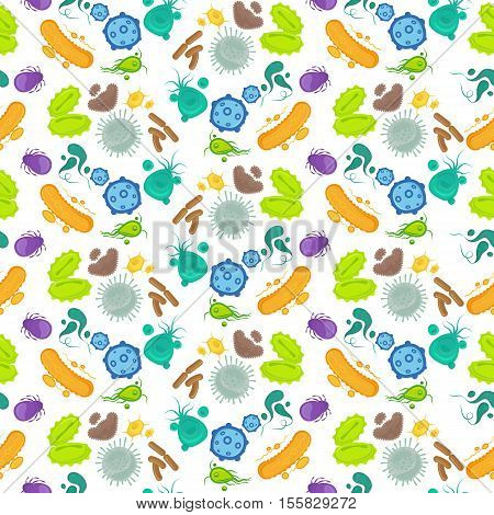 Bacteria and virus colorful seamless pattern. Vector illustration