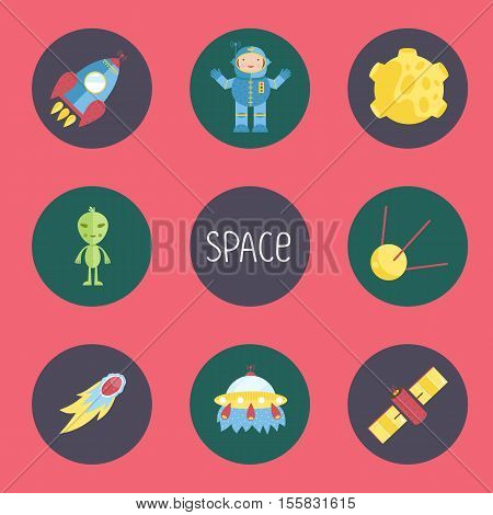 Space objects cartoon icons. Spaceship, astronaut in spacesuit, Moon in craters, alien, satellites, comet or meteor, flying saucer vectors isolated on red background.