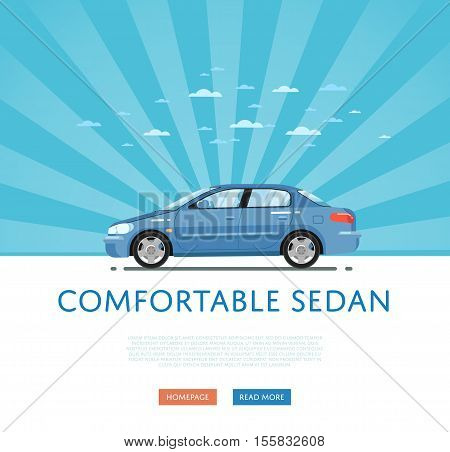 City car isolated on rays background. Vector sedan car. Vehicles cartoon car isolated. Sedan car side view isolated. Urban car or family car cartoon style. Modern car model. Sedan car vector icon. For car rental service or car sale poster. Car ad.