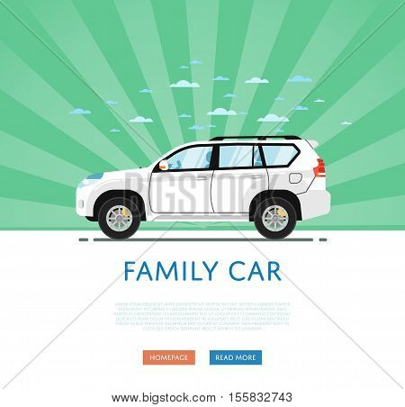 poster of SUV car isolated on rays background. Vector SUV car. Sport utility Vehicles cartoon car isolated. SUV car side view isolated. Offroad car or 4x4 car cartoon style. Modern car model. Off road 4x4 car. For car rental service or car sale poster. Car ad.