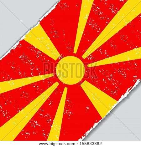 Macedonian grunge flag diagonal background. Vector illustration.