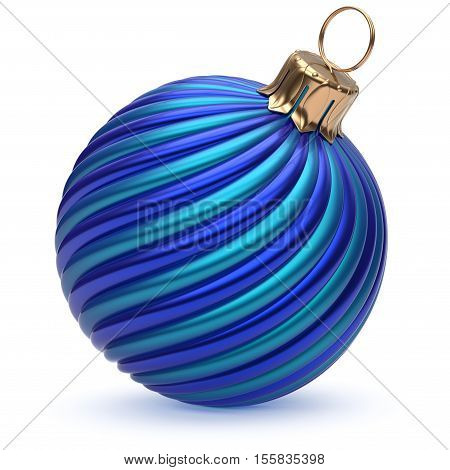 Christmas ball New Year's Eve decoration blue shiny twisted stripes bauble wintertime hanging adornment souvenir. Traditional ornament happy winter holidays Merry Xmas symbol closeup. 3d render