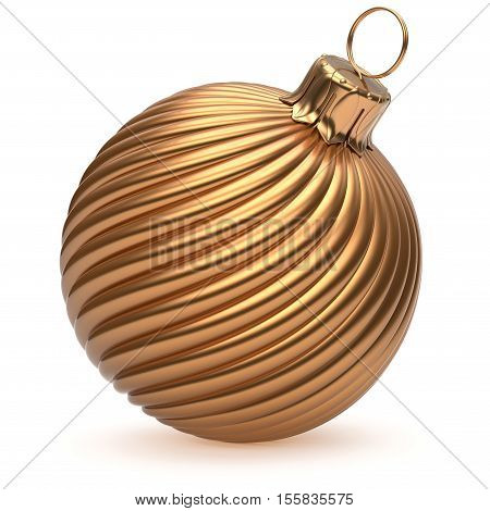 Christmas ball New Year's Eve decoration gold shiny twisted stripes bauble wintertime hanging adornment souvenir golden. Traditional ornament happy winter holidays Merry Xmas symbol closeup. 3d render