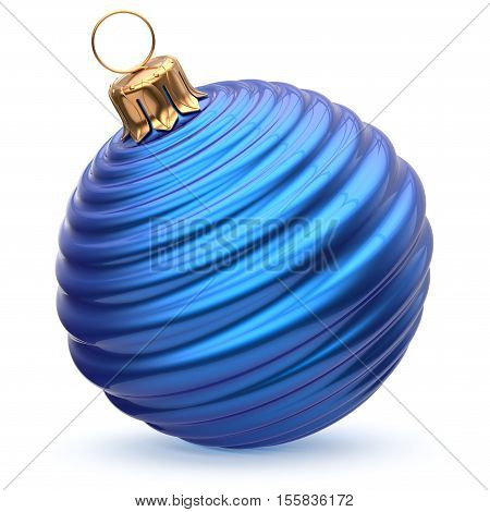 Christmas ball New Year's Eve decoration blue shiny striped bauble wintertime hanging adornment souvenir. Traditional ornament happy winter holidays Merry Xmas symbol closeup. 3d render