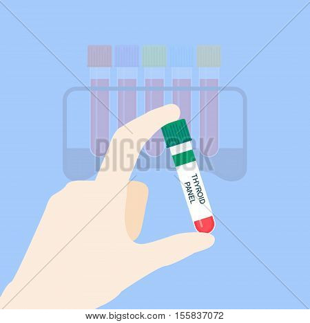 Medical tubing for thyroid panel test. Hand holding blood sample. Laboratory centrifuge tubing with green top. Medical equipment on blue background. Vector illustration.