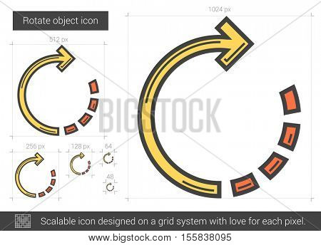 Rotate object vector line icon isolated on white background. Rotate object line icon for infographic, website or app. Scalable icon designed on a grid system.