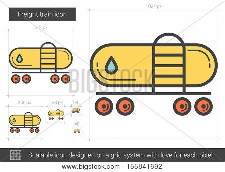 Freight train vector line icon isolated on white background. Freight train line icon for infographic, website or app. Scalable icon designed on a grid system.