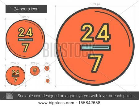 24 hours vector line icon isolated on white background. 24 hours line icon for infographic, website or app. Scalable icon designed on a grid system.