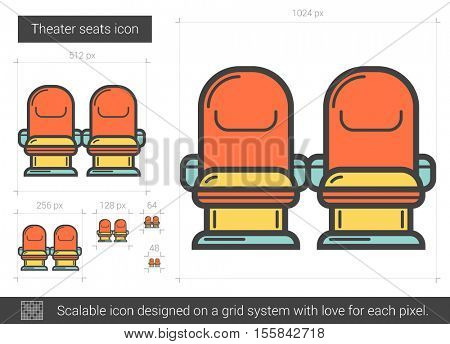 Theater seats vector line icon isolated on white background. Theater seats line icon for infographic, website or app. Scalable icon designed on a grid system.