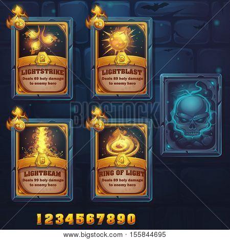 Set spell cards of lightstrike lightblast lightbeam ring of light. For web video games user interface design