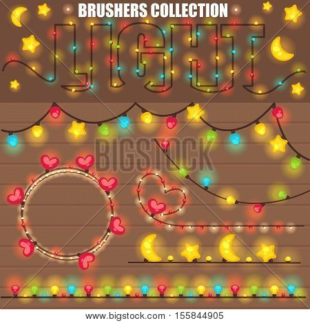Christmas or New Year design with wooden background  christmas colorful lights garland. Various shapes star and moon, heart shape, light bulb. All brushes are in the swatches palette. Vector illustration.