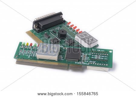 diferent PCI devices for testing of motherboards on a white background PC Diagnostics