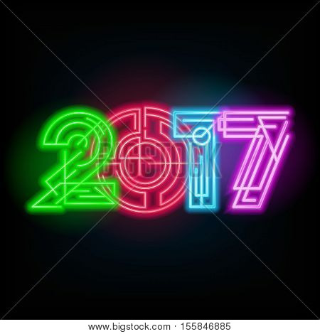New year neon sign. 2017 text on a dark background. Stock vector for your design.