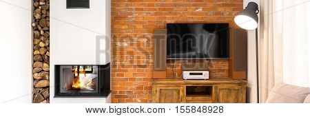 Stylish Lounge Room With Fireplace